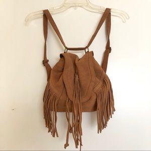 Ecote Cognac Brown Suede Leather Fringe Backpack